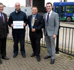 Swindon's best bus drivers - l-r Paul Jenkins, Phil Manning, John Dyer, ...