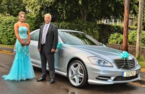 Ridgeway School pupil Lucy Davidson ready for her prom with Shades of Grey driver Martin Shilston