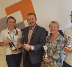 Emma, Jo, Ruth and James from the SwICC Six with Julian Brand (centre) from PrePay Solutions