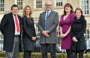 23.11.15 - Bath. From left, Tony Swain, Ashmead Building Supplies; Sarah Ellis and Alex Pyatt from Thrings; Laura Green and Sarah Thornber from O'Hara Wood. Photo: Professional Images/@ProfImages
